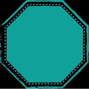 Achteckiges Emblem mit Hirschkopf