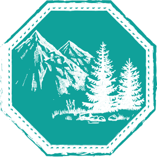 Achteckiges Emblem mit Bergkulisse