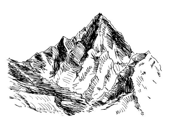 Gezeichneter Berggipfel
