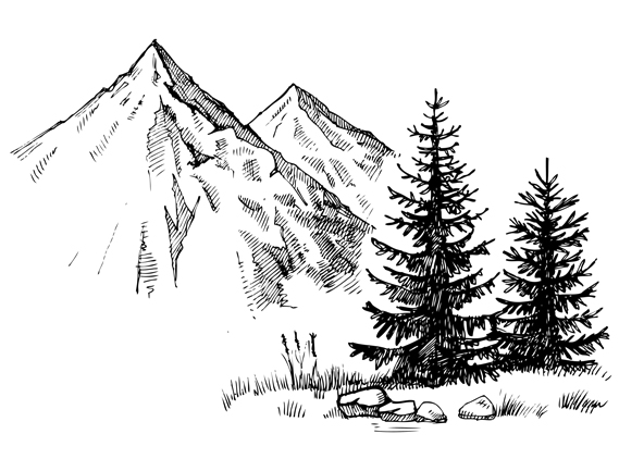 Gezeichnete Bergkulisse